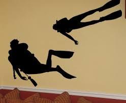 Vinyl Wall Art Decal Sticker 2 Scuba Divers 170 Shane C Newsonter