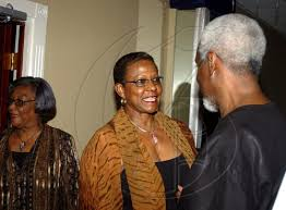 Go Jamaica Photo Gallery   Patterson's Order of the Caribbean Community    Winston Sill / Freelance Photographer Sonia Hamilton (centre) has a word or  two for P.J. Patterson while Gloria Reid looks