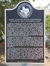 Myra Lillian Davis Hemmings - Texas Historical Markers on ...