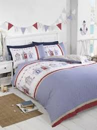 beach huts gingham blue white red