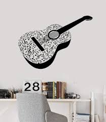 Vinyl Wall Decal Acoustic Guitar Notes Musical Instrument Stickers Uni Wallstickers4you