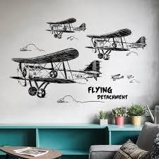 Waliicorners Creative Black And White Aircraft Wall Stickers For Kids Room Bedroom Wall Decoration Living Room Wallpaper Diy Art Decal Waliicorner S Store