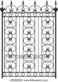 Wrought Iron Gate Door Fence Window Grill Railing Design Clip Art K23350249 Fotosearch