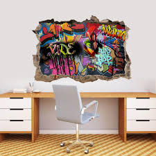 Personalized Graffiti Wall 3d Smashed Broken Decal Wall Sticker Wp173 Decalz Co