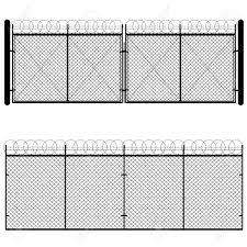 Fence And Gate Made Of Metal Wire Mesh On White Background Royalty Free Cliparts Vectors And Stock Illustration Image 57810354