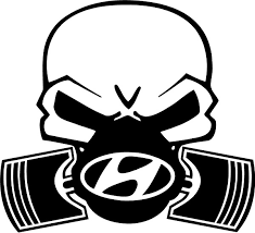 Hyundai Piston Gas Mask Skull Decal Sticker 03