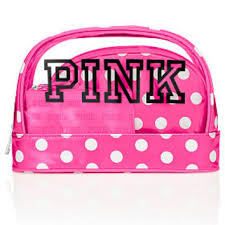 victoria secret hot pink makeup bag