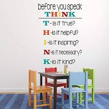 Classroom Vinyl Wall Decal Think Before You Speak Student Motivational Sticker