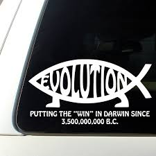Buy Jesus Fish Darwin Evolution Sticker Evolve Atheist Decal White In Cheap Price On M Alibaba Com