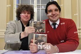 Czech bass-baritone Adam Plachetka (right) and conductor Roman Valek (left)  show the new CD album..., Stock Photo, Picture And Rights Managed Image.  Pic. CKP-P201801230968201 | agefotostock
