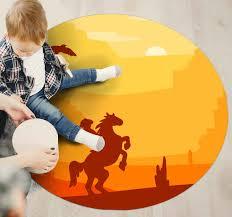 Cowboy Landscape Kids Vinyl Rug Tenstickers