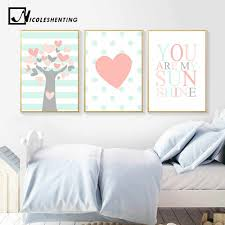 Peach Tree Heart Canvas Poster Nursery Quote Wall Art Print Painting Nordic Picture Kids Bedroom Decor You Art My Sunshine Trees Heart Canvas Posterprints Painting Aliexpress