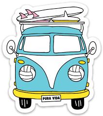 Pura Vida Volleyball Bus Sticker