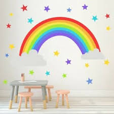 Rainbow Vinyl Wall Stickers Kids Room Bedroom Playroom Decals Home Decor Quick Ebay