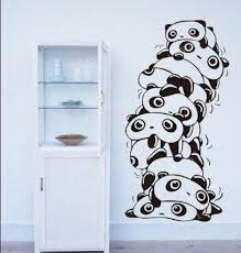 Vinyl Wall Decal Cute Stacked Panda Wall Decal Bed Room Home Wall Stcker Decals Decor Bedroom Baby Kid Kids Room Animal Removable R1285 Vinyl Wall Decals Kawaii Room Wall Decals