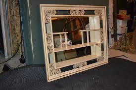 vintage wood mid century mirror wall