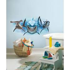 Roommates 5 In X 19 In Finding Nemo Sharks Peel And Stick Giant Wall Decal Rmk2558gm The Home Depot