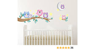 Amazon Com Sunny Decals 139p Owl Fabric Wall Decals With Branch Set Of 6 Home Kitchen