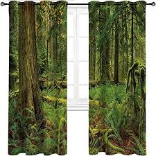 Amazon Com Houselookhome Room Darkening Curtain Tree Temperature Balance Shades Woodland Bushes Moss For Bedroom Living Room Kids Room And More 2 Grommet Top Curtain Panels 52 W X 63 L Home