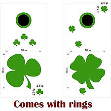 Amazon Com Irish Shamrock Clover Cornhole Board Decals Stickers Bean Bag Toss Rings Toys Games