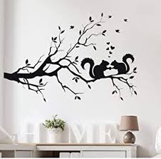 Amazon Com Hot Sale Squirrel On Long Tree Branch Wall Sticker Animals Cats Art Decal Kids Room Home Decor Stylish New 58x38cm Home Improvement