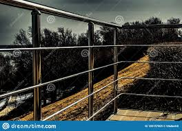 Observation Deck And Fencing From Falling From A Height Stock Image Image Of Fall Stainless 186157005