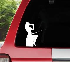 Girls Fish Too 5 Red Vinyl Sticker Decal Car Truck Fishing Women Window Catch