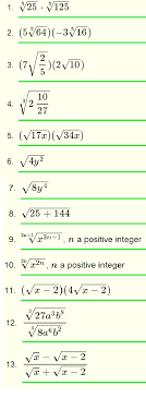 simplify radicals questions with