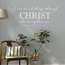 Amazon Com Battoo Bible Wall Decal Quote I Can Do All Things Through Christ Who Strengthens Me Vinyl Wall Stickers Art Scripture Verse Custom Home Decor 40 W By 18 H White Home