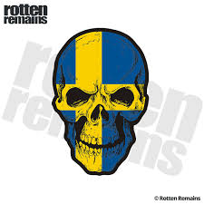 Sweden Flag Skull Decal Swedish Nordic Skulls Vinyl Car Sticker V2 Rotten Remains High Quality Stickers Decals