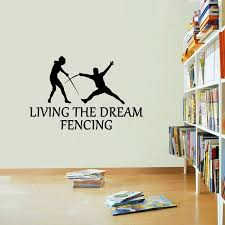 Fencing Sticker Living The Dream Vinyl Stickers Decals Art Etsy