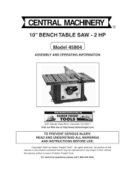 10 Bench Table Saw 2 Hp Harbor Freight Tools