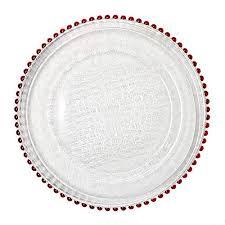glass dinnerware 13 inch red beaded rim