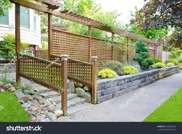 Outlook Wooden Asian Style Fence Front Buildings Landmarks Stock Image 106556243