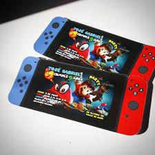 Invitaciones Mario Odyssey Con Forma De Nintendo Switch Para Mi