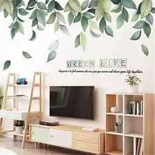 Amazon Com Llydd Tree Branches Wall Sticker Leaves Wall Decal Art Decor Peel And Stick Self Adhesive For Living Room Bedroom Kitchen Playroom Nursery Room Cheerful Realistic Vibrant Greenish Bright Color Arts