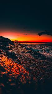 ocean sunset surf wave sky night