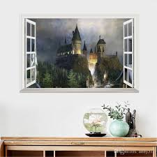 Fantasy Removable Castle Wall Stickers For Kids 3d Window View Decal Magic College Castle Wall Stickers Decor Art Mural Wallpaper 50 70cm Nursery Wall Decor For Boys Girls Nursery Wall Art From Abby517