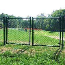 Giant Can Provide Double Swing Gates Black Double Aluminum Security Gate Chain Link Driveway Gate