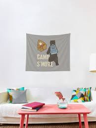 Kids Camp S Mores Camping Hiking Campfire Bear Tapestry By Cherrycat101 Redbubble