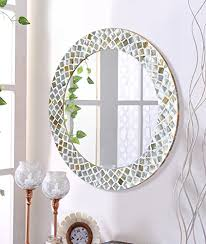 silver finish round accent wall mirror