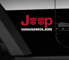 Jeep Wrangler Transformers Autobot Side Fender Vinyl Decals X2 Pair Jeep Wrangler Decal