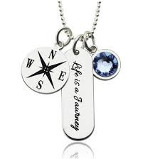 quotes graduation jewelry women engraved compass bar necklace