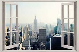 New York Manhattan Skyline 3d Window View Decal Wall Sticker Decor Art Mural H89 Ebay