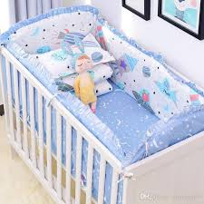 blue universe design crib bedding set