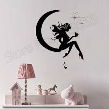 Yoyoyu Wall Decal Girl Fairy Moon Star Dreams Teen Wall Stickers Vinyl Window Interior Decor Accessories Design Mural Gift Zw355 Wall Stickers Aliexpress
