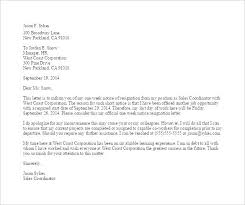 notice resignation letter format period