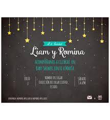 Invitacion Baby Shower Gemelos Estrellas Oh Yupi Yei