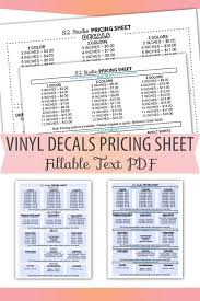 Fillable Editable Text Only Pdf Vinyl Decal Pricing Sheet Etsy