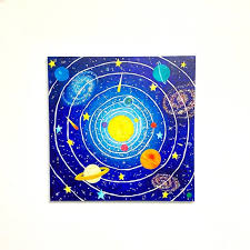 Solar System Painting Space Themed Decor Kids Room Nursery Etsy